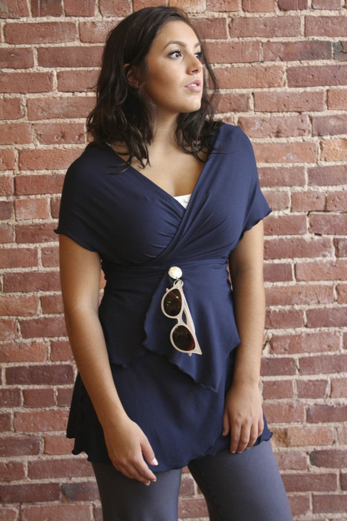angelrox® navy girly wrap styled as portrait tunic