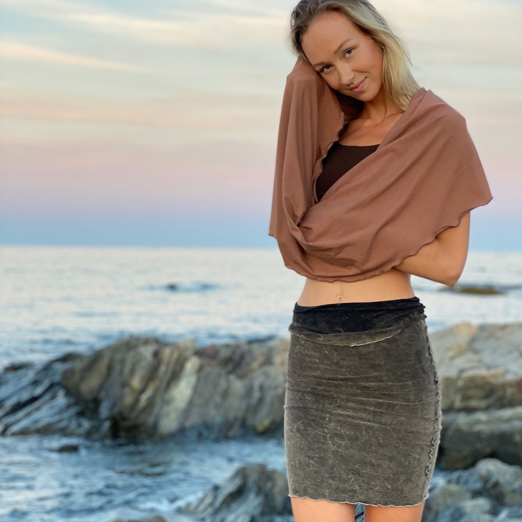 the hourglass pencil skirt is sublime in mineral, with cedar loop shawl