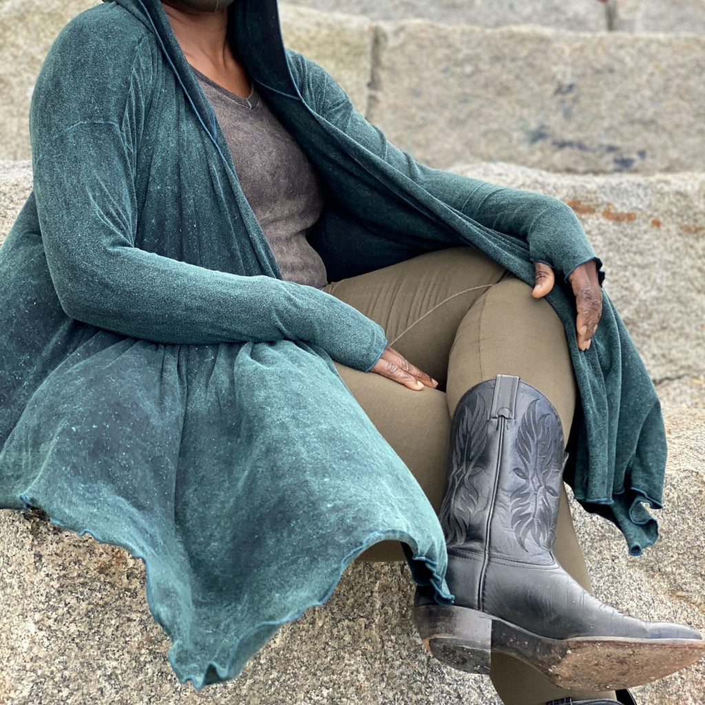 olive base legging with our blue mineral shire wrap jacket