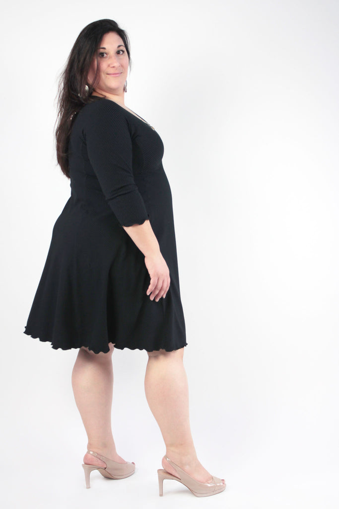 shine dress in subtle black stripe