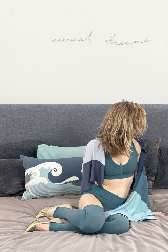 sweet dreams in the ocean balance bra + blue ripple scarf
