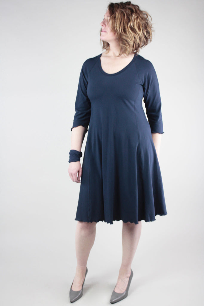 navy shine dress with the band as a cuff