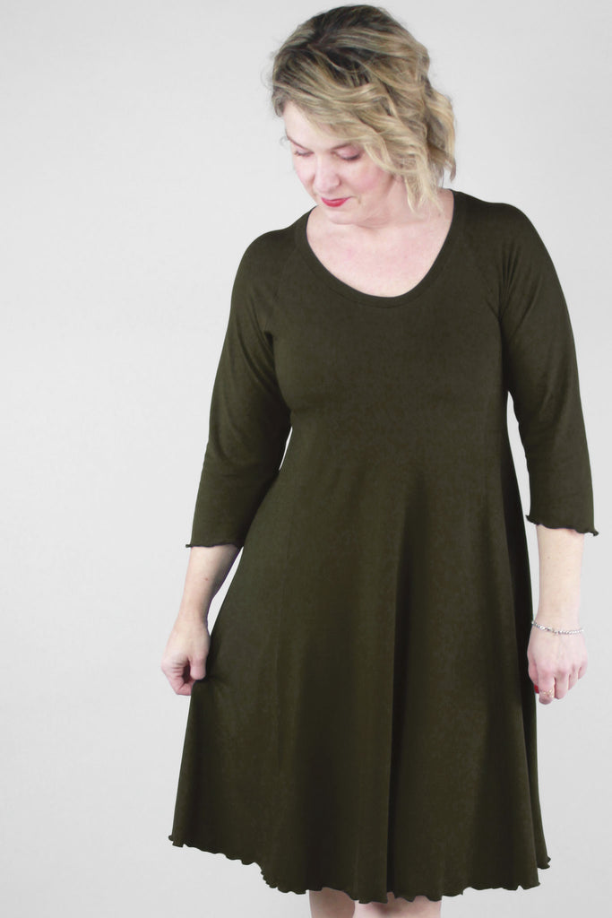 olive shine dress in comforting bamboo