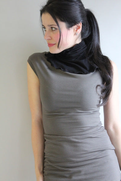 black angelrox turtle with subtle olive stripe cap tunic