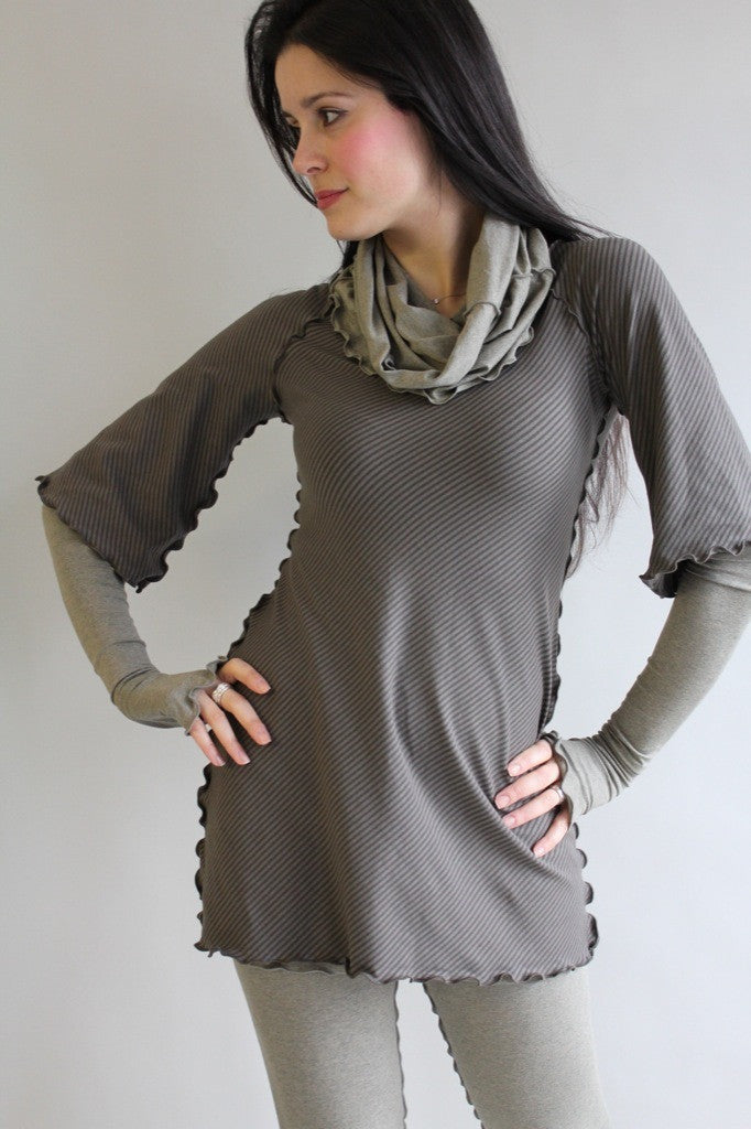 subtle olive stripe ballet tunic with sand opera sleeves, corset and playsuit
