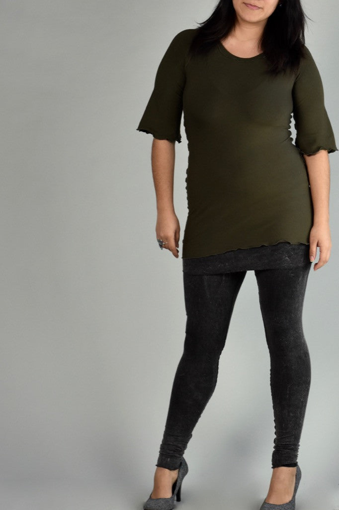 olive ballet tunic with mineral playsuit
