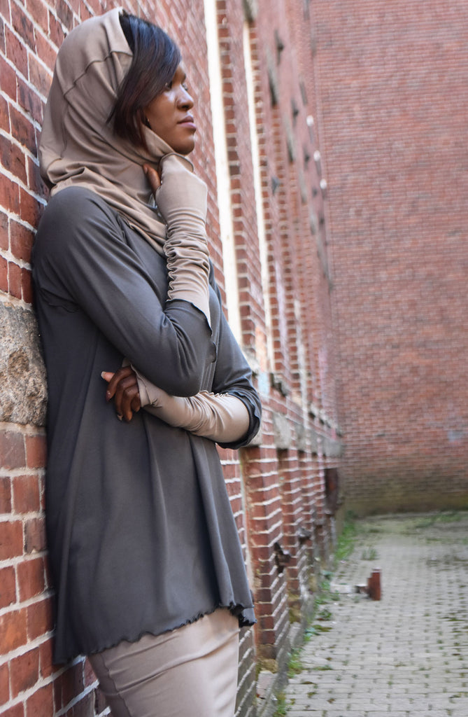 angelrox® opera sleeves and hourglass hooded cowl in clay bamboo