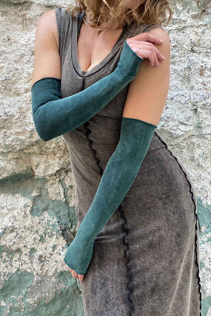 angelrox® opera sleeves in blue mineral with mineral goddess dress