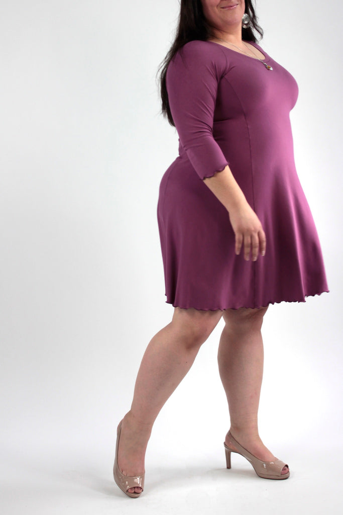 shine half sleeve dress in orchid