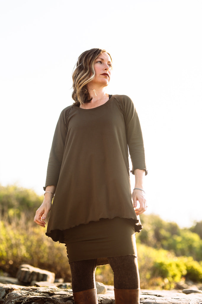hourglass pencil skirt + swing tunic in olive