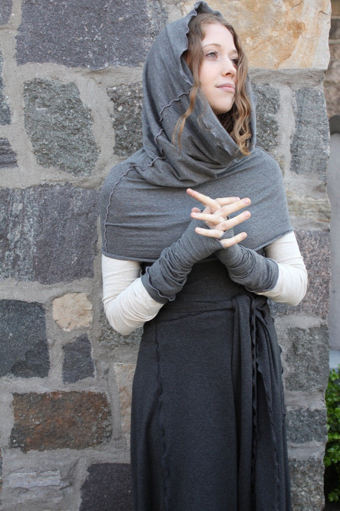 granite hourglass + opera sleeves with vanilla vneck and charcoal wrap
