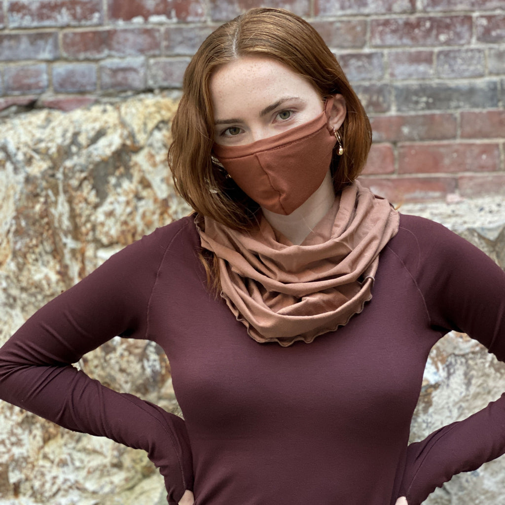 cozy cowl neck scarf in cedar looks divine with honey hush + vitality in wine