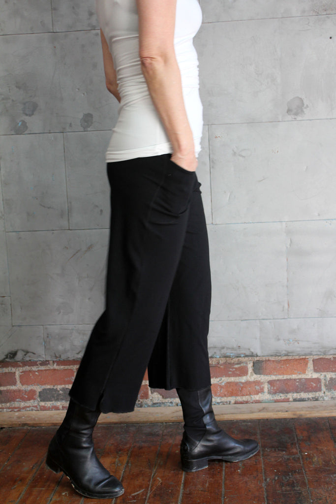 angelrox kick pant is cut high and is perfect paired with boots or barefeet