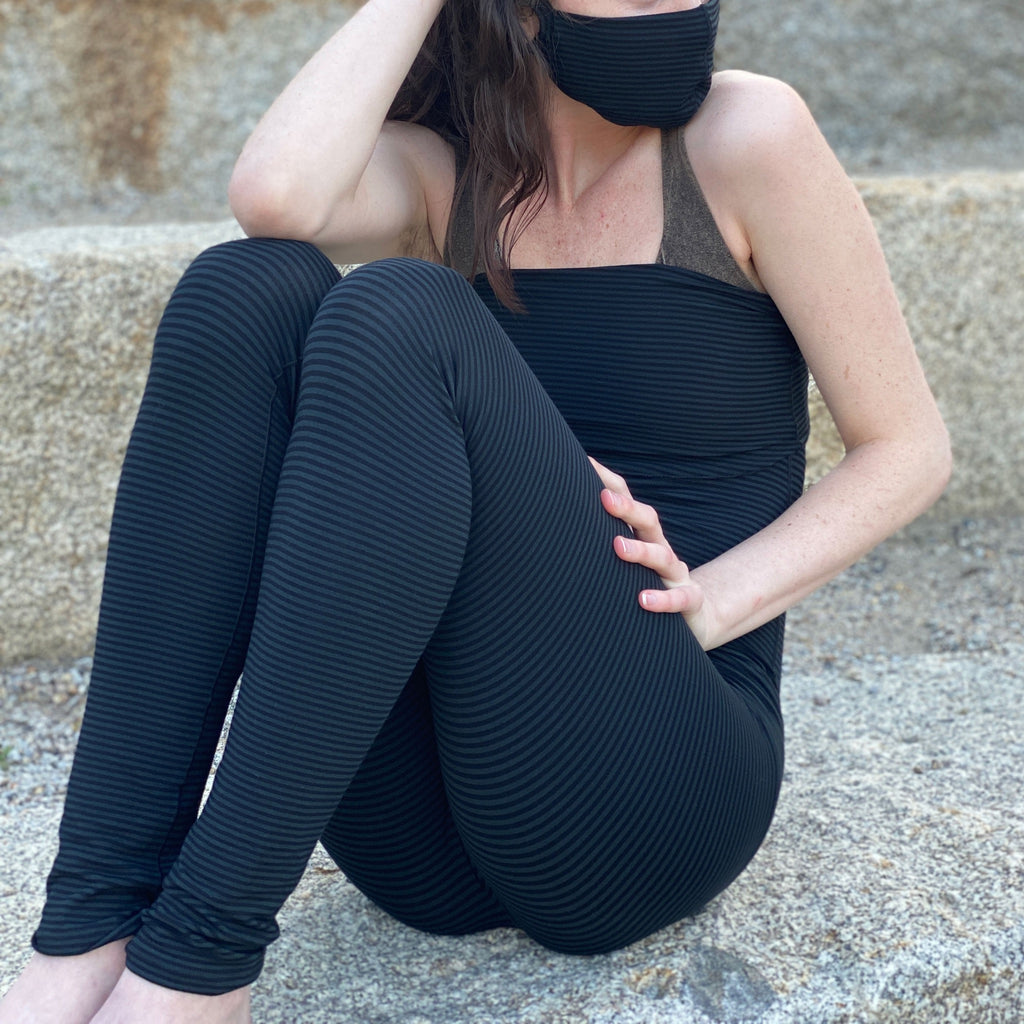 subtle black stripe playsuit as full body suit and matching mask