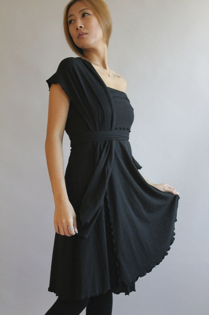 the wrap by angelrox in subtle black stripe bamboo + organic cotton