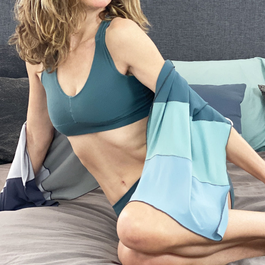 balance bra in ocean + blue ripple scarf