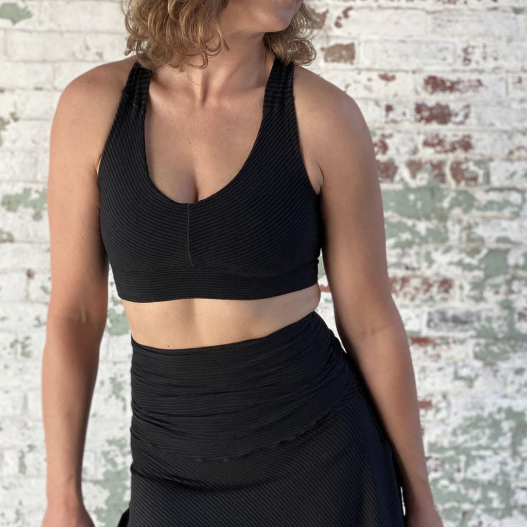 balance bra in subtle black stripe