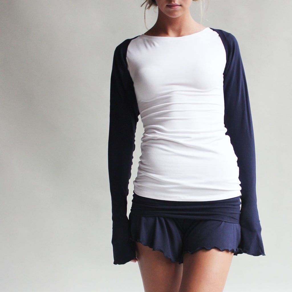 angelrox® white cap tunic with navy shrug and romper