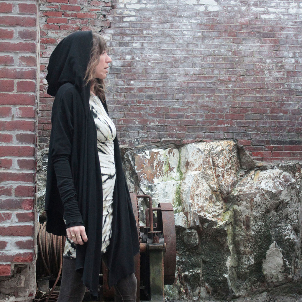 black shire hooded wrap jacket