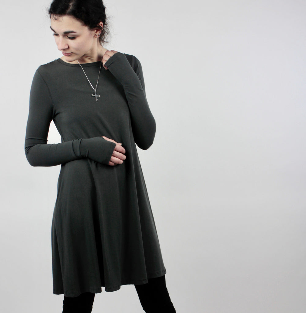 stall long sleeve dress in cozy bamboo