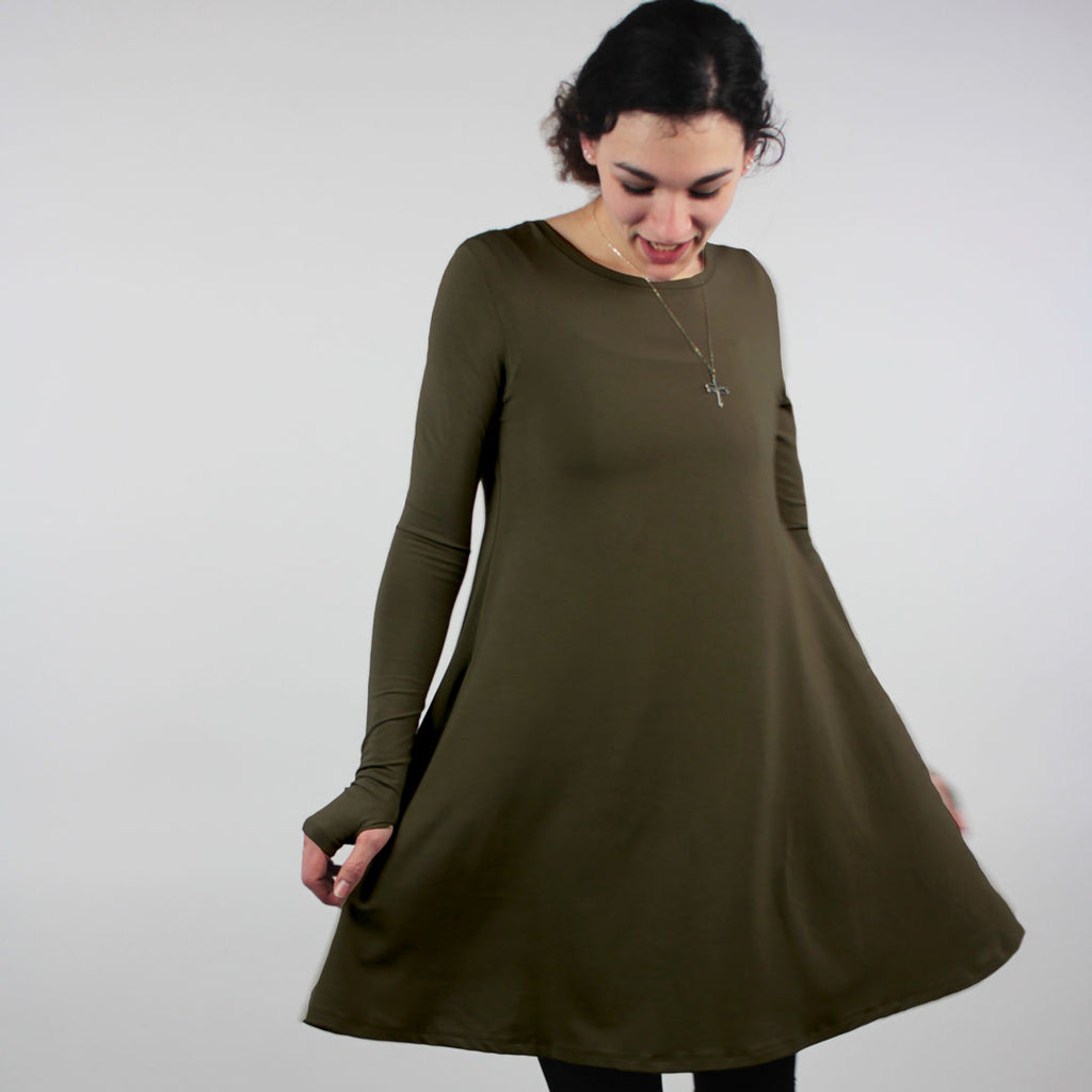olive stella dress- spin + swirl in bamboo