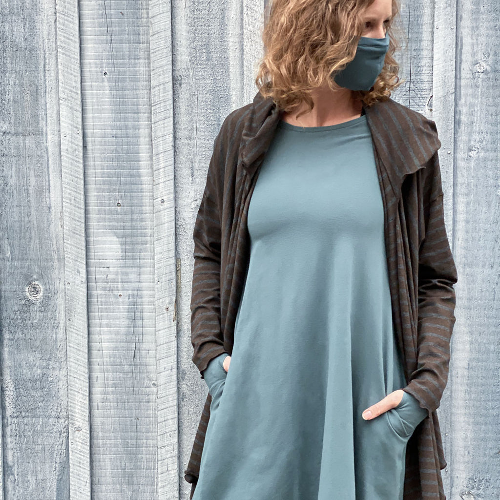ocean stella dress with our woodland cardi jacket and ocean hush face mask