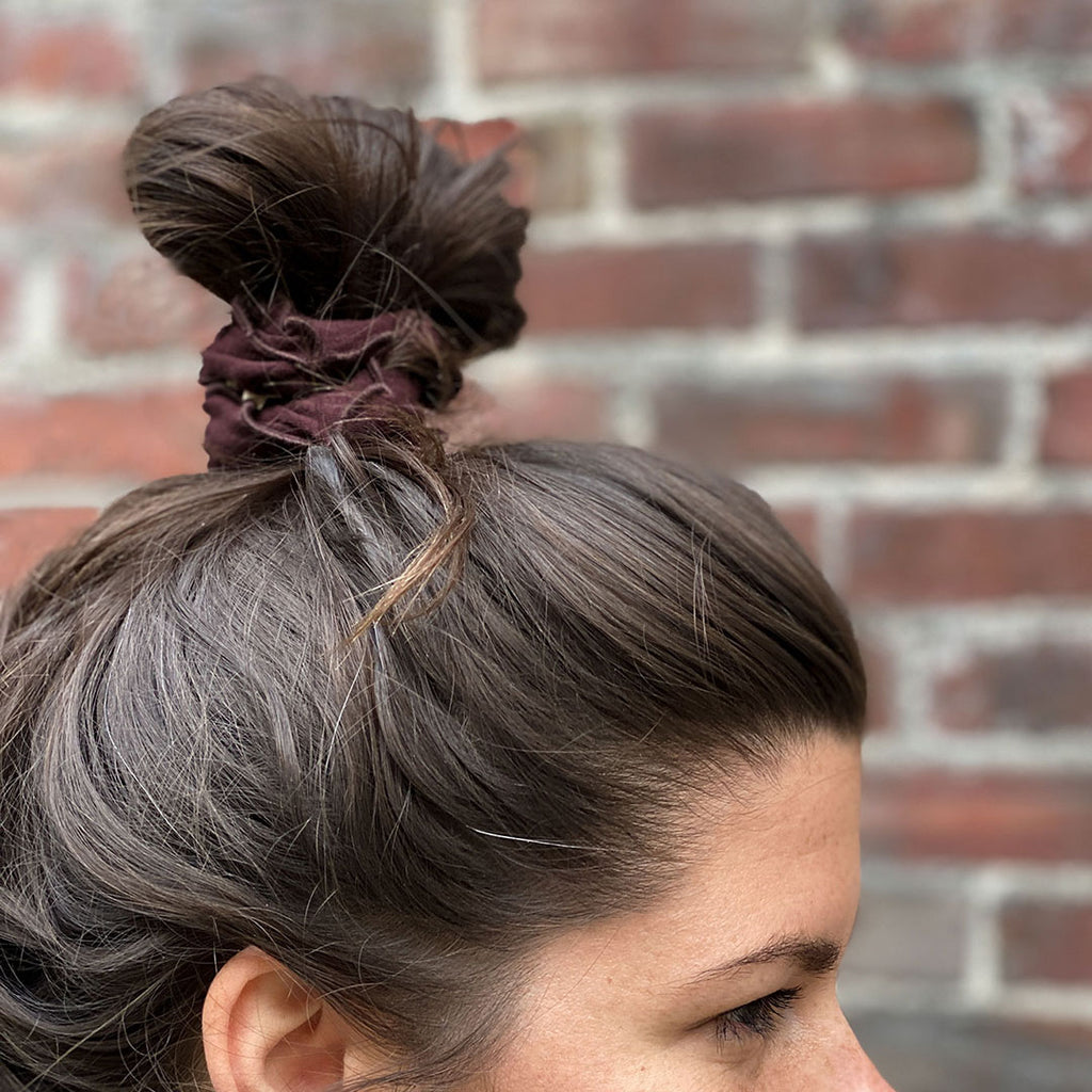 wine band holds top knot securely