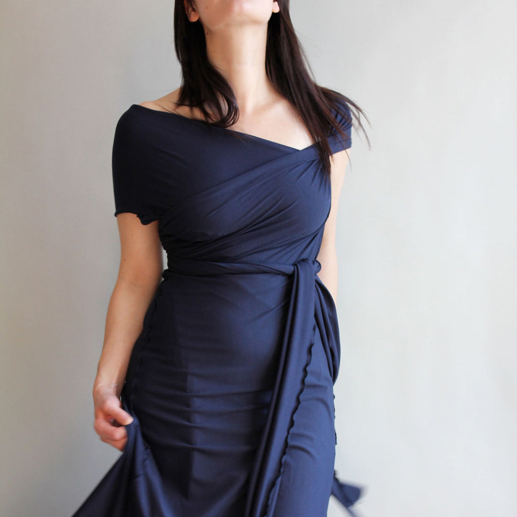 the wrap as a dress in navy