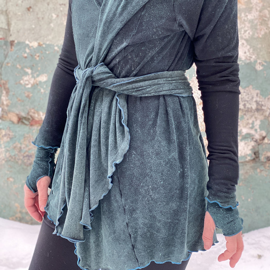 blue mineral cardi + lil' scarf as a belt
