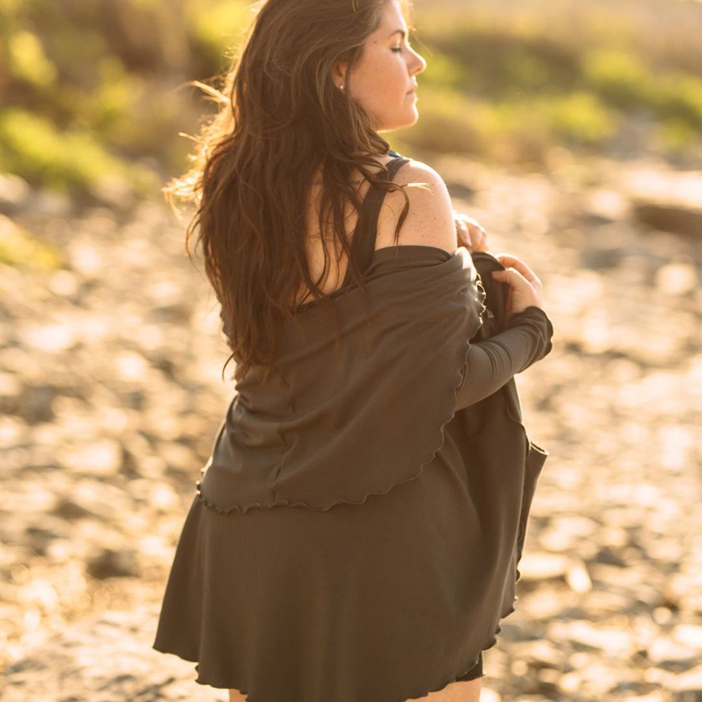 olive cardi jacket- sensual + soothing in plant based fibers that comfort + breathe