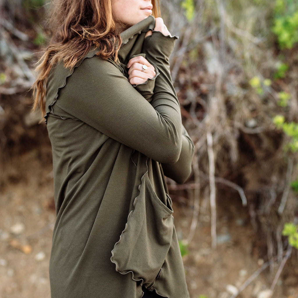 olive cardi jacket- wrap yourself in comfort + joy