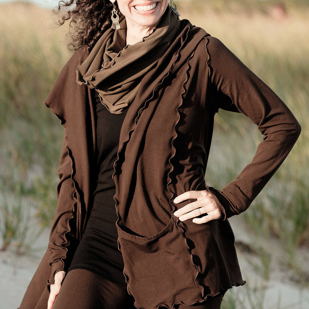 peat bamboo cardi jacket with our olive hourglass around the neck and black core tank
