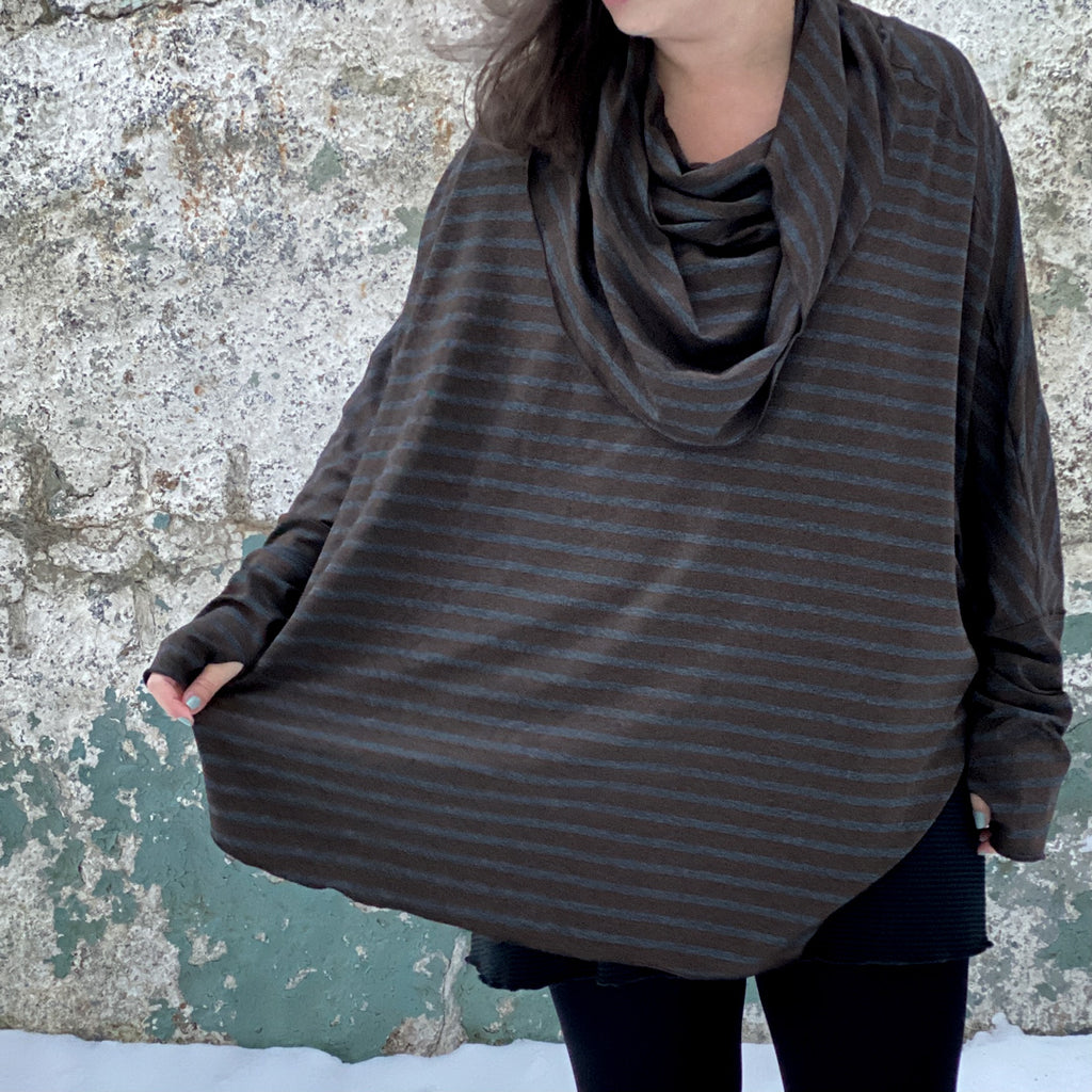 mountain cowl in woodland stripe