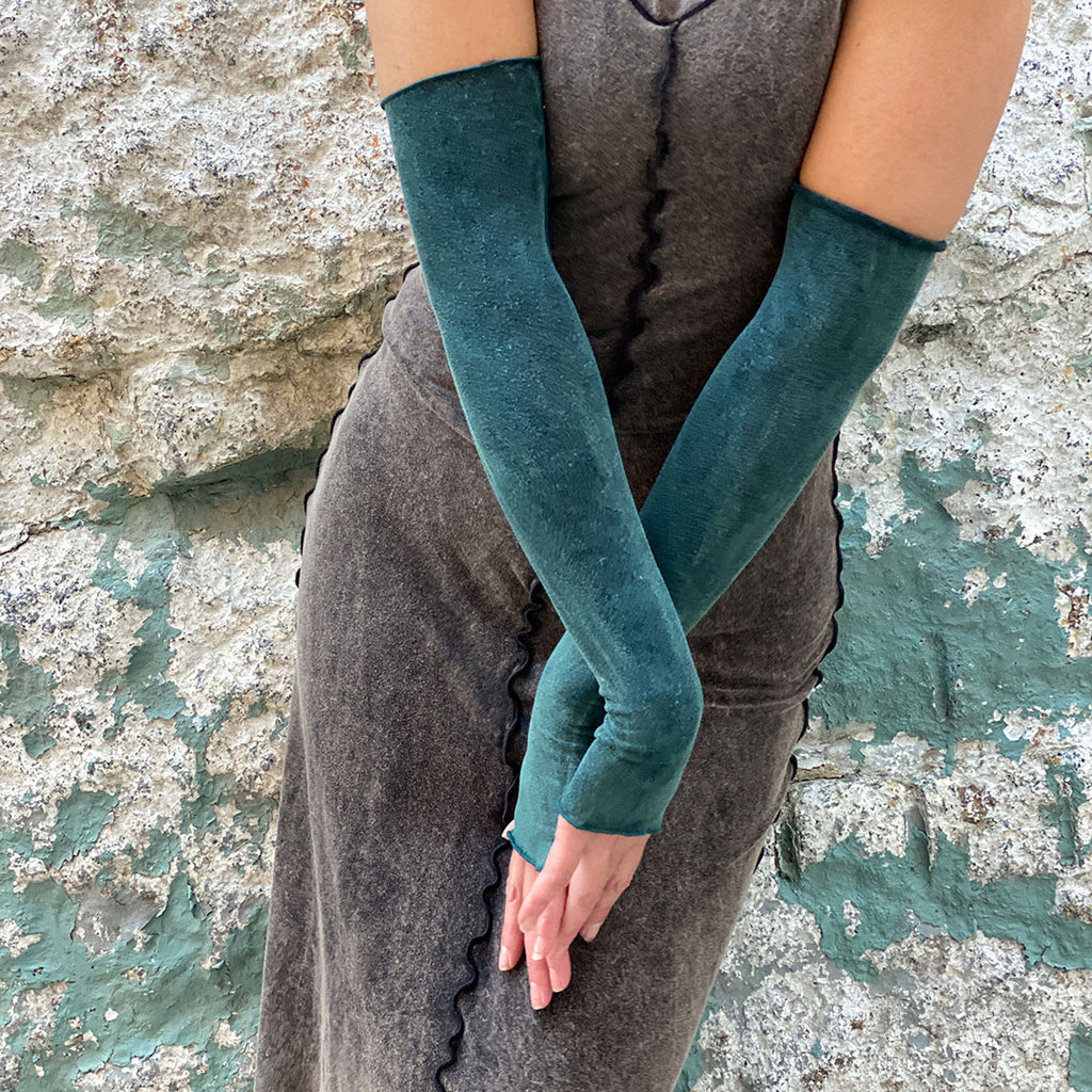 angelrox® opera sleeves are sublime in blue mineral with mineral goddess dress