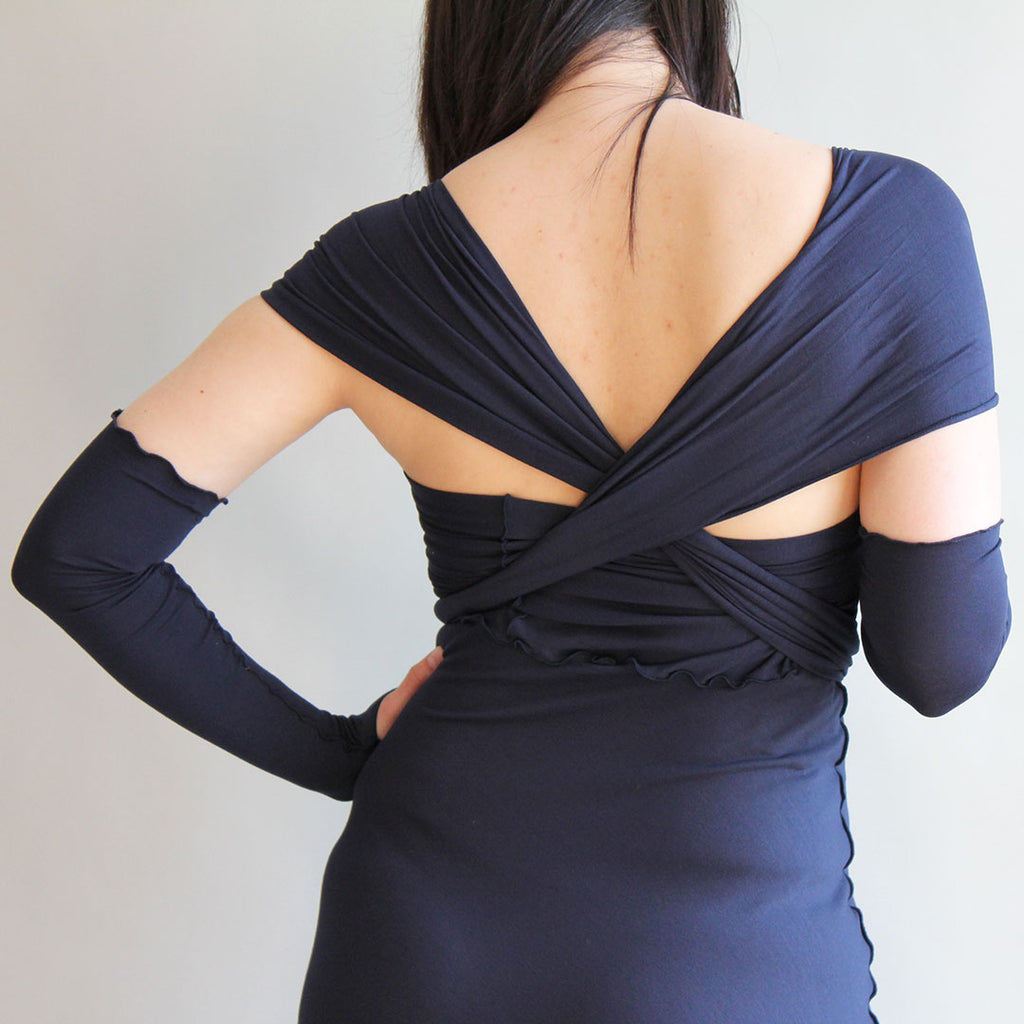 navy elegance. angelrox® opera sleeves + wrap dress.