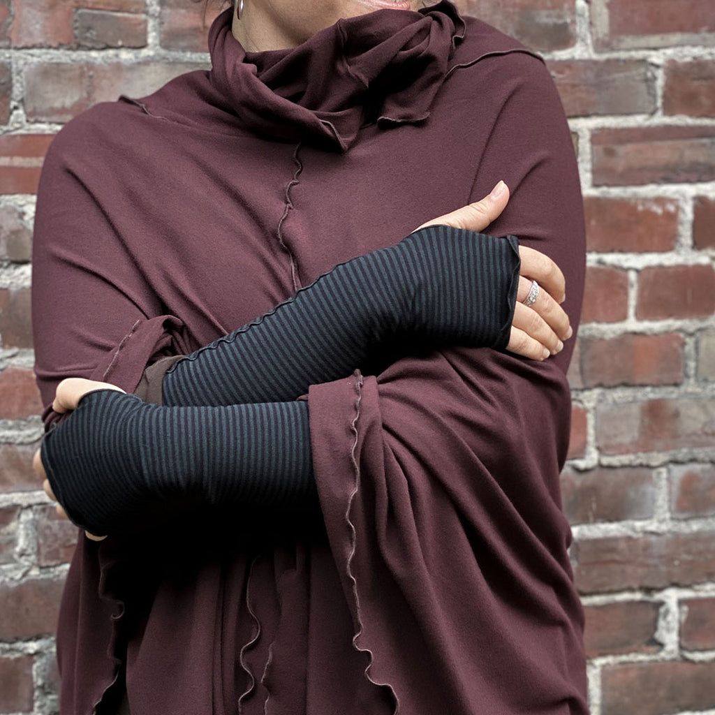 cozy and warm in subtle stripe opera sleeves