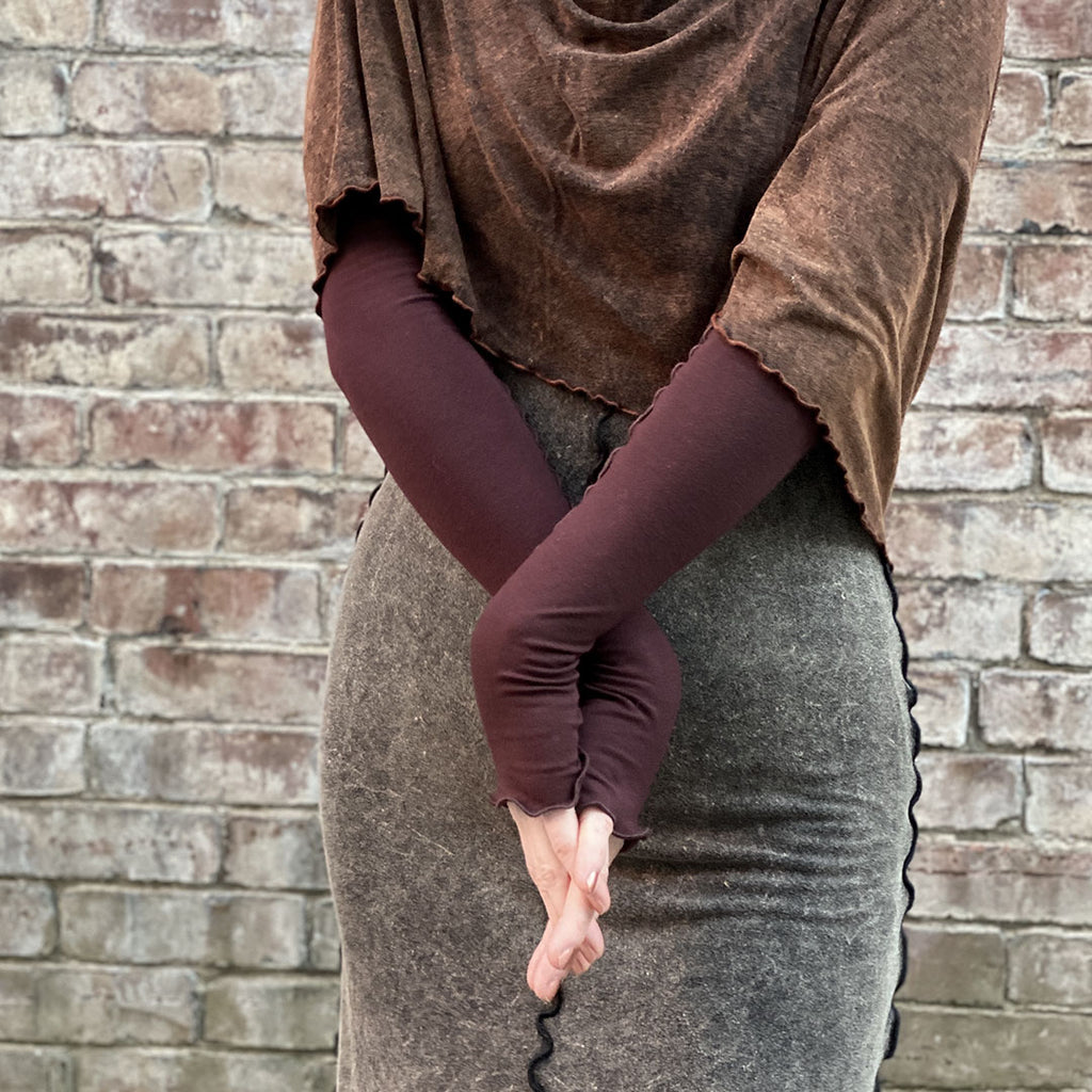 angelrox® opera sleeves in wine with cacao mineral loop shawl