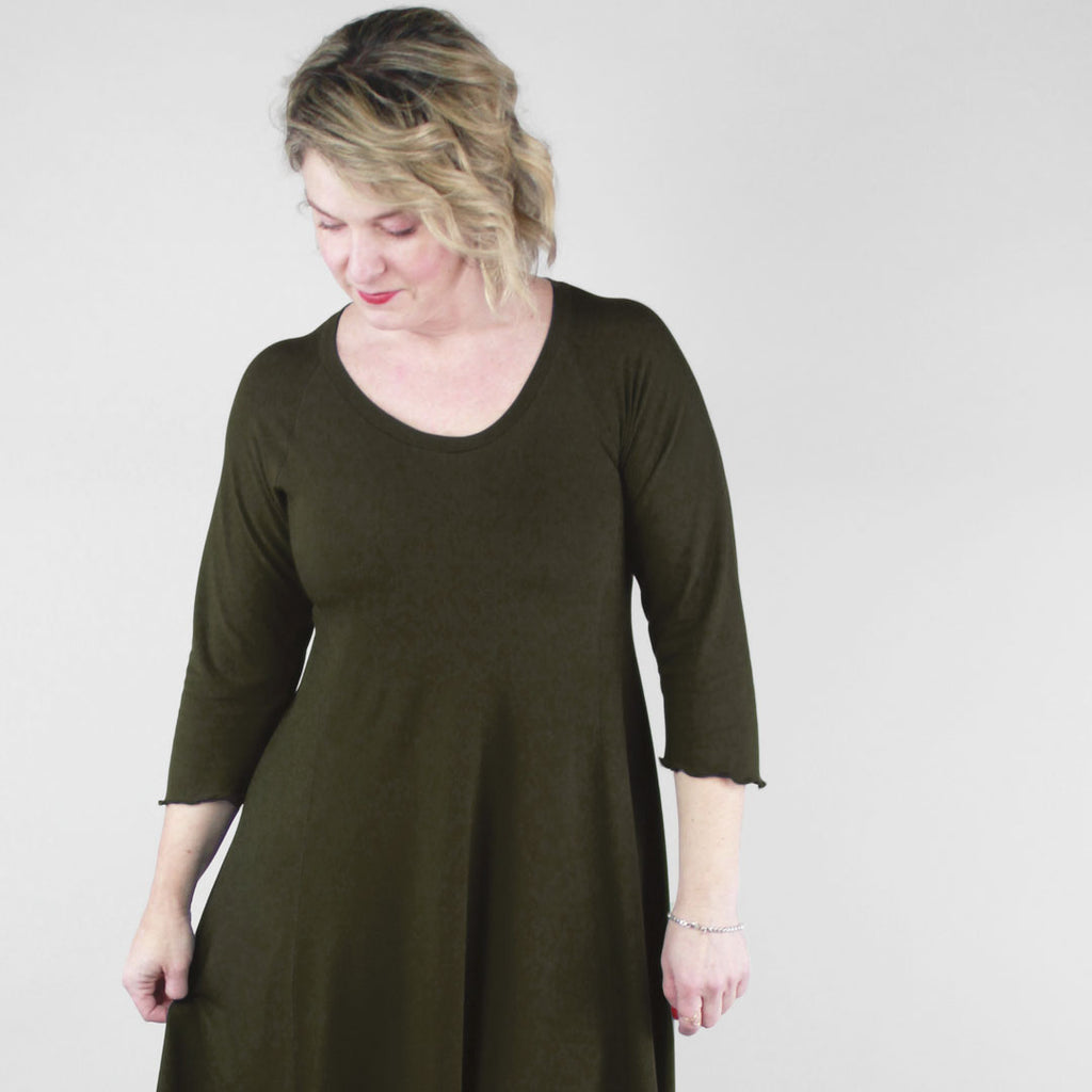 olive bamboo shine dress