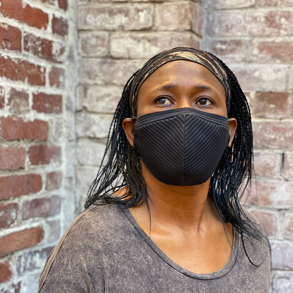 hush face mask in subtle black stripe