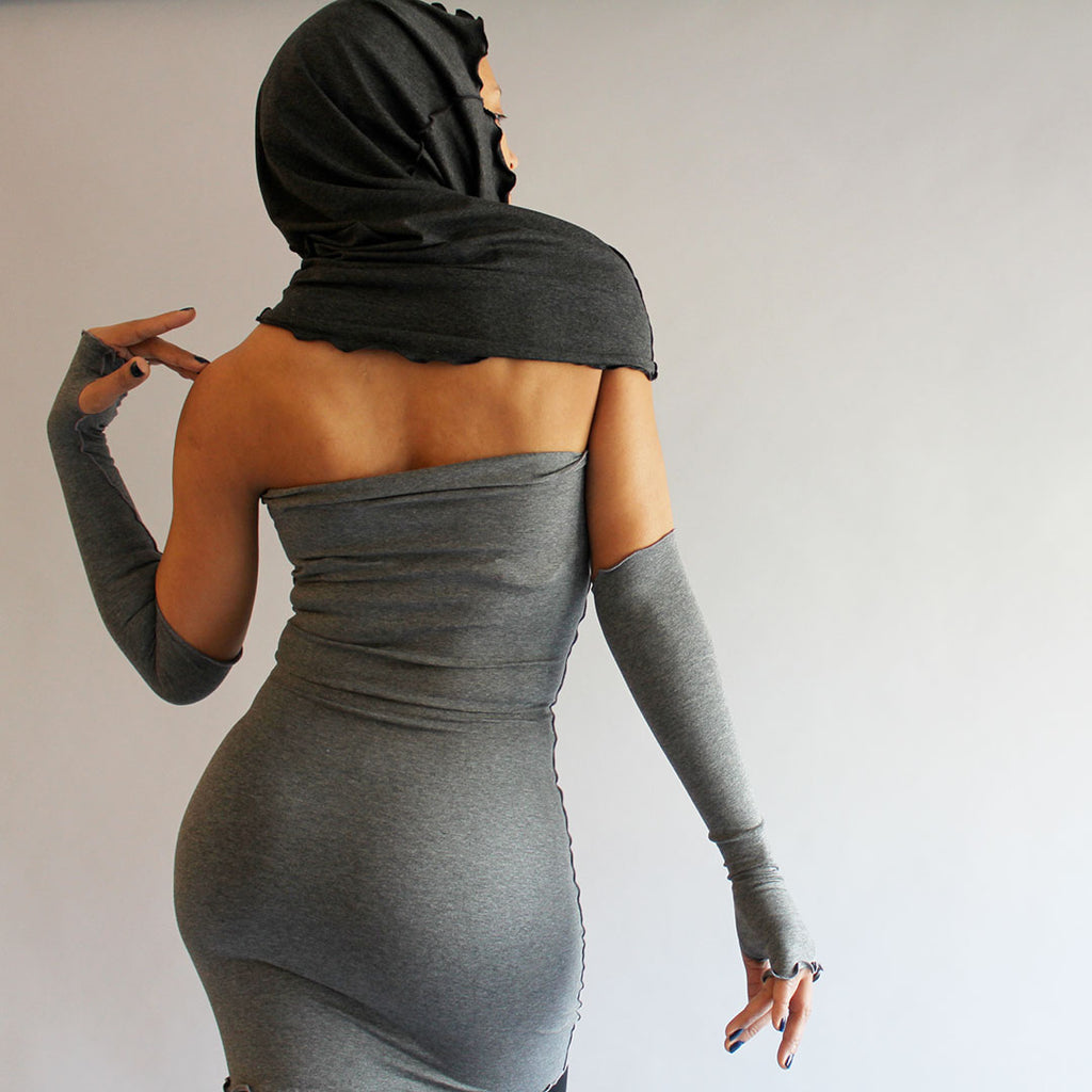 angelrox® hourglass as hooded shrug in charcoal + sleek shaper dress in granite