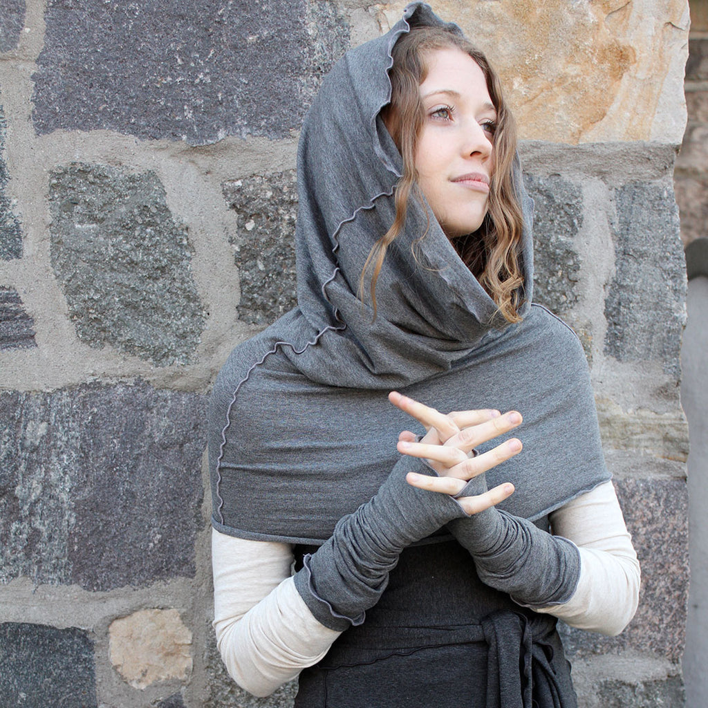 hourglass hooded shawl and opera sleeves in granite