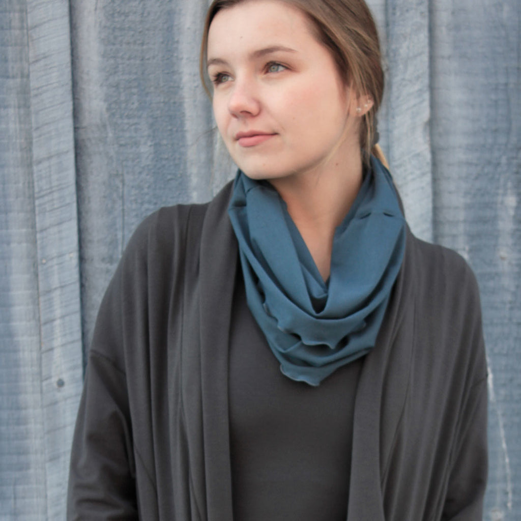 hourglass cowl in ocean with ore coco blazer