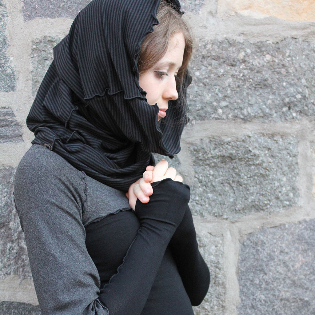 the hourglass hooded scarf in subtle stripe effortlessly accessories black and charcoal