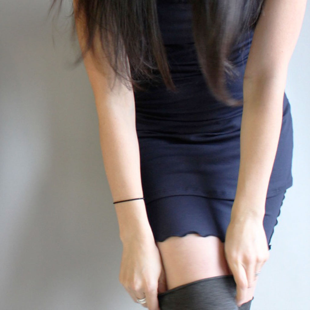navy wifey with our charcoal stockings