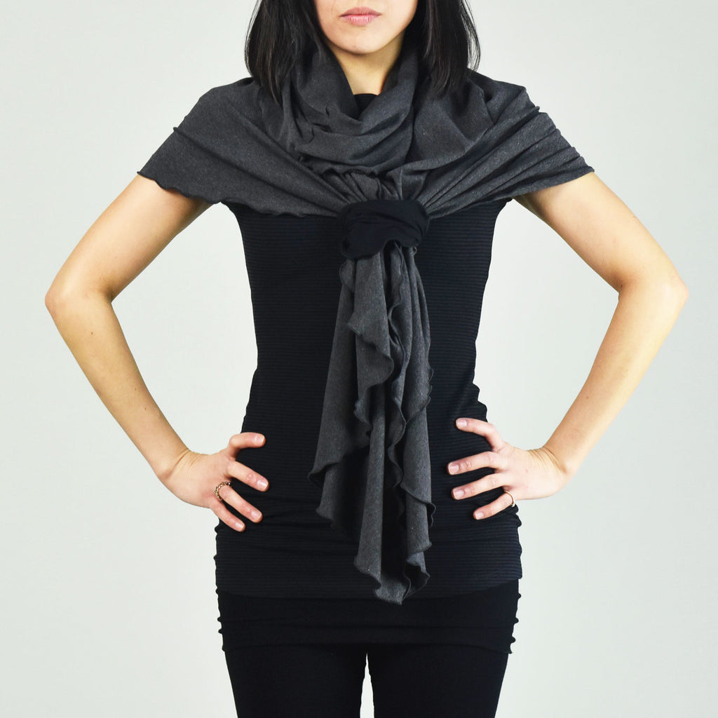 charcoal flirt as a shawl tied with our black band