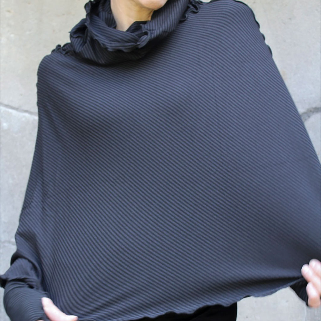 subtle black stripe lady flirt as poncho + opera sleeves