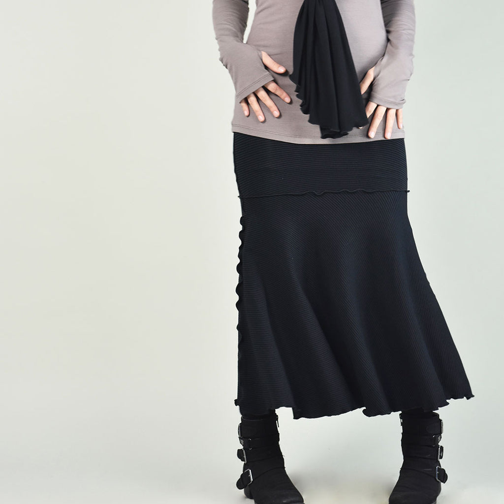 subtle black stripe flirt as a long skirt