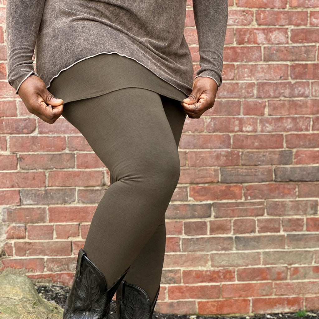 olive bamboo climber as a skirt + leggings pair