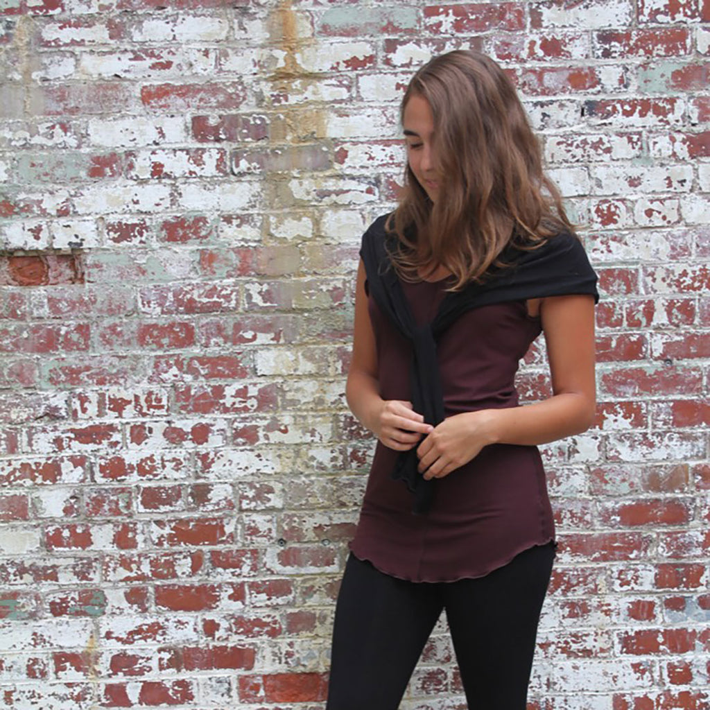 wine shell tank with our black shrug as a shawl