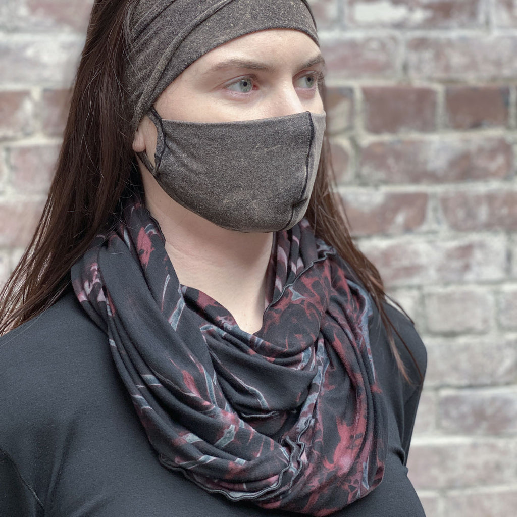 angelrox® black wine spin infinity scarf + the mineral whisper mask + band